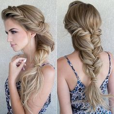 Gorgeous and Romantic Braid for Long Hair! - Summer Hairstyles with Braids Daily Hairstyles, Romantic Hairstyles, Summer Hairstyles, Pretty Hairstyles, Braided Hairstyles, Wedding Hairstyles, Teenage Hairstyles, Hairstyle Ideas, Short Hairstyles