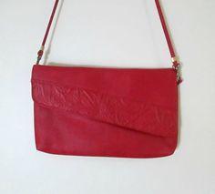 Vintage Red Clutch Crossbody Handbag Faux by looseendsvintage, $22.00
