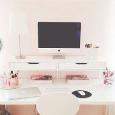 Clean work space - clean, organized desk with drawers attached to the wall - good as a home office or in kids' room Desk Areas, Desk Space, Home Office Space, Office Workspace, Home Office Design, Home Office Decor, Home Design, Office Ideas, Workspace Design