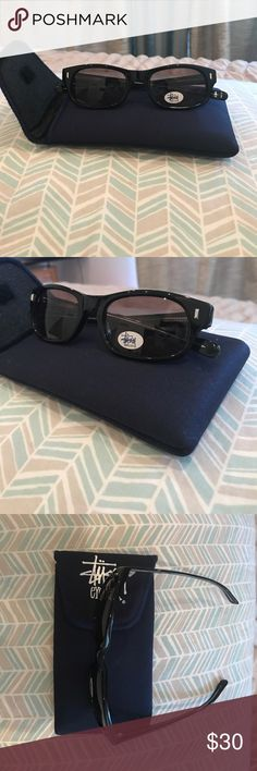 """VINTAGE STUSSY """"Michael"""" black sunglasses 90s VINTAGE STUSSY black sunglasses, RARE, never worn,with tags,in plastic, with case, Pictures provided of condition. All bundles of 2 or more receive 15% off. Closet full of new, used and vintage Vans, Skate and surf companies, jewelry, phone cases, shoes and more. Stussy Accessories Sunglasses"""