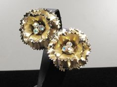 Vintage Layered Frilly Flower Gold Tone & Satin by SassyBeauties