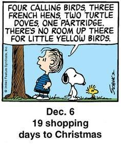 four calling birds, three french hens, two turtle doves. Christmas Comics, Days To Christmas, Peanuts Christmas, Charlie Brown Christmas, Charlie Brown And Snoopy, Christmas Countdown, Snoopy Cartoon, Snoopy Comics, Peanuts Cartoon
