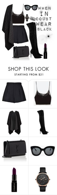 """""""When in doubt, wear black"""" by saraprifti on Polyvore featuring RED Valentino, Nümph, Kendall + Kylie, Yves Saint Laurent, CÉLINE, Smashbox, Skagen and Federica Tosi"""