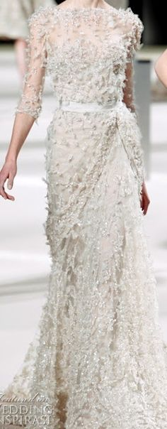 white-floral-beaded-wedding-gown - Once Wed love the dress, but not the top... maybe stop with the sweetheart neckline