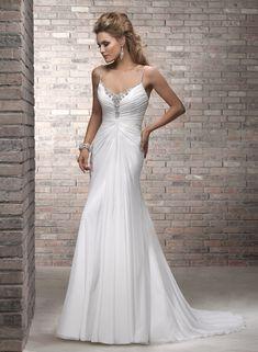 Sheath/Column Spaghetti Straps Sleeveless Chiffon Wedding Dress #USAHSMG004