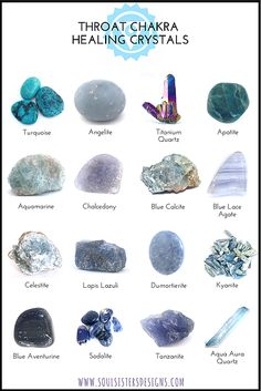 Wearing or carrying throat chakra crystals is a powerful way to assure your throat chakra remains balanced. Angelite, Sodalite, Aquamarine, Lapis Lazuli, Turquoise and Azurite are some of the most effective crystals for throat chakra healing. Gems And Minerals, Crystals Minerals, Crystals And Gemstones, Stones And Crystals, Blue Crystals, Blue Stones, Gemstone Beads, Healing Gemstones, Buy Gemstones