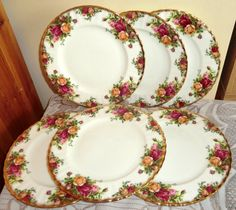 Set of SIX Royal Albert Old Country Roses by PrettyVintageHome