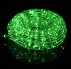 BLOWOUT Green Outdoor LED Fairy String Rope Light, 33 FT, Clear Tube, AC Plug-In