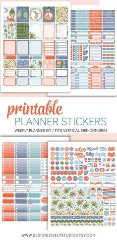 Erin Condren Life Planner Printable Stickers, Winter Stickers Kit, Christmas Planner Stickers