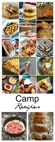 Camping Ideas  This year it's time to branch out a bit from the Hot Dogs and S'mores. I really can't believe how many simple Camping Recipes I found while searching the web
