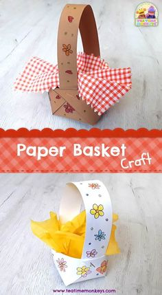 Paper Basket Craft - Tea Time Monkeys-- Here's a really easy paper basket that kids can make. This craft would fit well with Little Red Riding Hood, Easter or Spring activities, or as a teddy's picnic basket! Paper Crafts For Kids, Crafts For Kids To Make, Easter Crafts, Projects For Kids, Easter Subday, Paper Basket Diy, Paper Basket Weaving, Picnic Activities, Spring Activities
