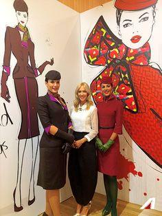 The fashion illustrator Megan Hess with our colleagues. #EtihadPartners #Alitalia #fashionweek