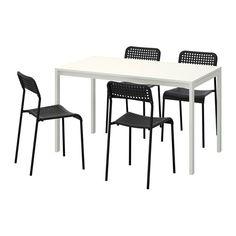 melltorp adde mesa con sillas blanco negro