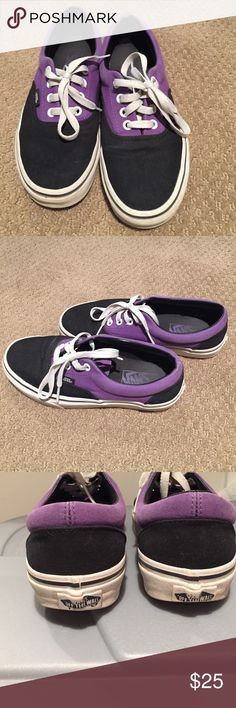 Purple & black classic lace up Vans Purple & black classic lace up Vans. Womens size 7 (men's 5.5). Excellent used condition. Vans Shoes Sneakers