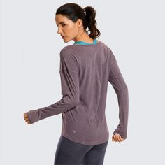 CRZ YOGA Women's Workout Long Sleeve Lightweight Yoga Shirts Sports Tops with Thumbholes Long Sleeve Gym Tops, Workout Tops, Fit Women, Sports Tops, Pullover, Fashion Outfits, Official Store, Quick Dry, Fitness