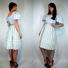 Vintage 50s White Cotton Full circle Skirt by BluegrassVoodoo, $78.00
