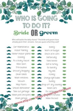 "Fun trivia bridal shower game, this ""Who is going to do it"" game is not only a blast at bridal showers, but also at engagement parties and wedding showers. Couple Shower Games, Wedding Shower Games, Wedding Showers, Honey Do Shower, Matching Gifts, Card Games, Groom, Engagement Parties, Bride"