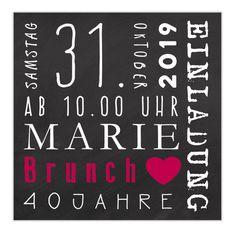 """**Einladungskarten """"Marie"""" • schwarz** Die Karten werden mit deinem Wunschtext bedruckt, der Mustertext wird ersetzt. Maße: 14,8 x 14,8 cm Papier: 260g Postkarten-Chromokarton Vorderseite:..."""