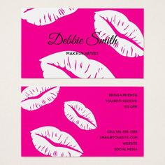 Hot Pink and White Lips Pattern Makeup Artist Business Card - chic design idea diy elegant beautiful stylish modern exclusive trendy Beauty Business Cards, Salon Business Cards, Makeup Artist Business Cards, Custom Business Cards, Hot Pink Background, White Lips, Font Face, Pink Style, Office Gifts
