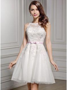 Corte A/Princesa Escote redondo Hasta la rodilla Encaje Vestido de novia con Fajas Lazo(s)