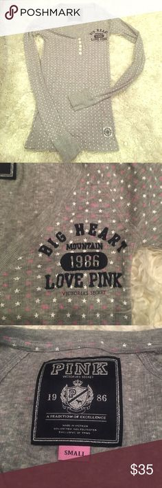 Pink stars ✨ university with v neck with buttons💋 Made from cotton and polyester this never been worn shirt is a great addition to your closet🎉 PINK Victoria's Secret Tops Tees - Long Sleeve