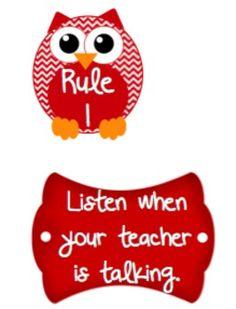 FREEClassroom Rules Owl Version@kyrawashington