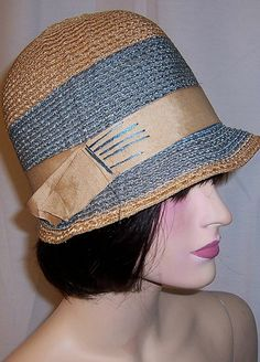 1920's Tan and Teal Blue Straw Cloche with Tan Grosgrain Ribbon