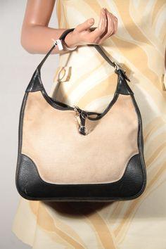 HERMES PARIS 70s Vintage Tan Canvas \u0026amp; Leather KELLY BAG Tote ...