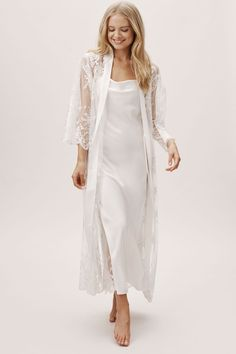 Darling Maxi Robe Ivory in Bride  BHLDN #Sponsored , #Ad, #Robe, #Maxi, #Darling, #BHLDN Lace Bridal Robe, Bridal Robes, Wedding Night Lingerie, Wedding Lingerie, Night Gown Dress, Lace Nightgown, Maxi Robes, Satin Dresses, Gowns