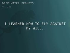 Odd Prompts for Odd Stories  Text: I learned how to fly against my will.