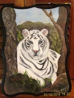 White Tiger at His Lair Oil Painting on Pine by CarmensPalette