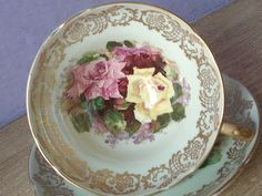 Vintage Mid Century Stanley English yellow pink roses green china tea cup teacup #stanley