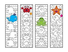 Cute Sea Animal Bookmarks – PDF Zentangle Coloring Page – Scribble & Stitch coloriage halloween à imprimer Printable Coloring Pages, Colouring Pages, Coloring Sheets, Flower Birthday Cards, Happy Birthday Cards, Arts And Crafts, Paper Crafts, Cute Dinosaur, Fish Design