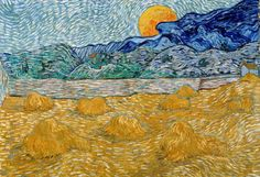Landscape with wheat sheaves and rising moon. Vincent Van Gogh, 1889 Kröller-Müller Museum © Kröller-Müller Museum