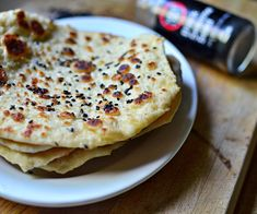 Black Sesame Naan bread.  So easy to make, you'll never buy store bought again - and only 3 smart points on WW!