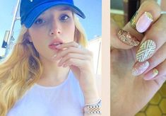 Can we all stop and take a second to gush over Bella Thorne's amazing manicure? We are obsessed with her cool pink and gold sparkly nails for the summer and you can get her look here! Bella Thorne,...