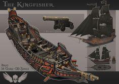 ArtStation - The Kingfisher, Johan Haubo Concept Ships, Concept Art, Minecraft Ships, Borderlands Art, Model Ship Building, Pirate Games, Fantasy Tattoos, Old Sailing Ships, Medieval