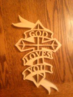 God loves you ribbon cross