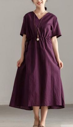 brief cotton dresses plus size Women V Neck Short Sleeve Lacing Purple Dress Stylish Dresses, Casual Dresses For Women, Linen Dress Pattern, Cotton Dresses, Loose Dresses, Dresser, Cocoon Dress, Half Sleeve Dresses, Summer Dress Outfits