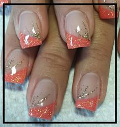 Coral and gold #naildesigns