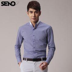 Seno spring shirt male long-sleeve shirt fashion stand collar fine blue plaid shirt slim male