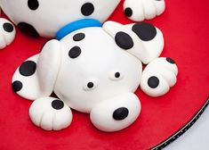 Baking a cake in two bowls rather than cake pans make it easy to create this dalmatian cake.