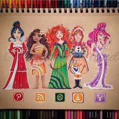 from - Finished my third and final social media disney princess artwork. I think you'll all agree that these are the sassiest princesses created by Disney. Mulan Moana (she's new) Merida Anna and Meg. App Drawings, Disney Drawings, Drawing Sketches, Amazing Drawings, Beautiful Drawings, Cute Drawings, Bild Girls, Social Media Art, Disney Kunst