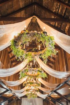 Hula hoops with lighting & material draped Wedding chandelier# rustic# barn# country# wedding decor Chandelier Wedding Decor, Flower Chandelier, Barn Wedding Decorations, Hula Hoop Chandelier, Chandelier Ideas, Barn Wedding Flowers, Chandeliers, Floral Wedding, Barn Wedding Lighting