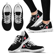 Boys Girls Casual Lace-up Sneakers Running Shoes Woof Dog Bone Paws