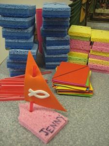Make these along with the net full of fish. Fishers of men  Bible school idea Bible Story Crafts, Bible School Crafts, Bible Crafts For Kids, Sunday School Crafts, School Fun, Bible Stories, Boat Crafts, Vbs Crafts, Church Crafts