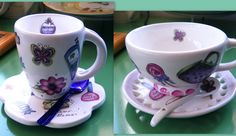 Dos modelos de tazas de cerámica línea Juanita;  tazón de boca ancha y taza cónica con asa con cuchara color incorporada.  Art Home Designs / Art Home Market / Vajilla divertida / línea Juanita / tazas cerámica