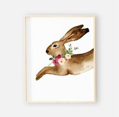 Winnie's Woodland Bunny Digital Wall Art | Caden Lane Bunny Nursery, Baby Girl Nursery Decor, Nursery Wall Art, Nursery Ideas, Baby Room, Woodland Nursery, Woodland Animals, Toddler Blanket, Floral Wall Art