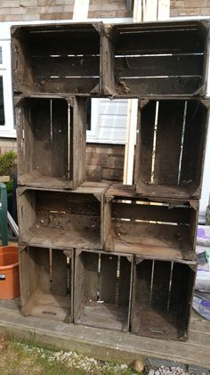 Upcycling apple crates into a shelving unit/bookcase