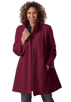 """This swing-style fleece plus size jacket has a great roomy silhouette for total freedom of movement. The colors are feminine, the texture is soft and this jacket will never need alterations.  A-line silhouette is easy and layers over everything, super comfy 34"""" long hangs beautifully to your lower thigh button up convertible stand collar keeps you warm without a scarf long sleeves are roomy, easy to wear and never binding full lining is comfortable and cozy washable woven spun polyester ..."""